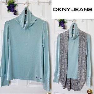 DKNY JEANS Women's Turtleneck Long Sleeve Blouse